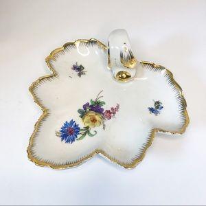 Vintage Painted Floral Leaf Jewelry Trinket Dish